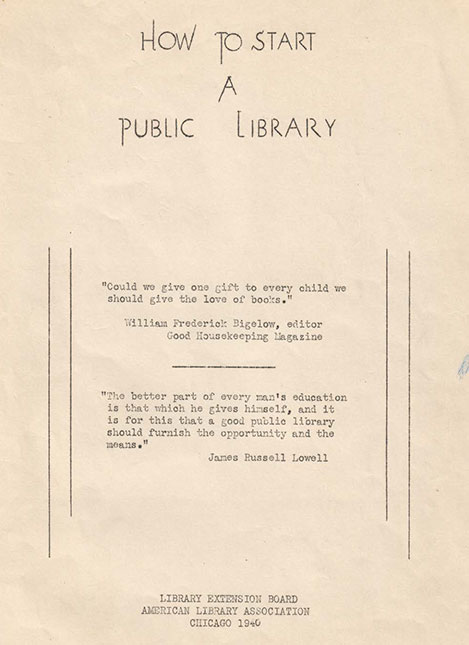 Booklet, How to Start a Library 1940
